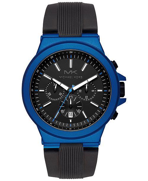 Michael Kors Men's Chronograph Dylan Black Silicone Strap Watch 45mm