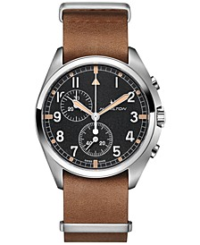 Men's Swiss Chronograph Khaki Pilot Pioneer Brown Leather Strap Watch 41mm