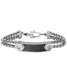 Men's ID Plate Bracelet in Carbon Fiber & Stainless Steel, J96B004L