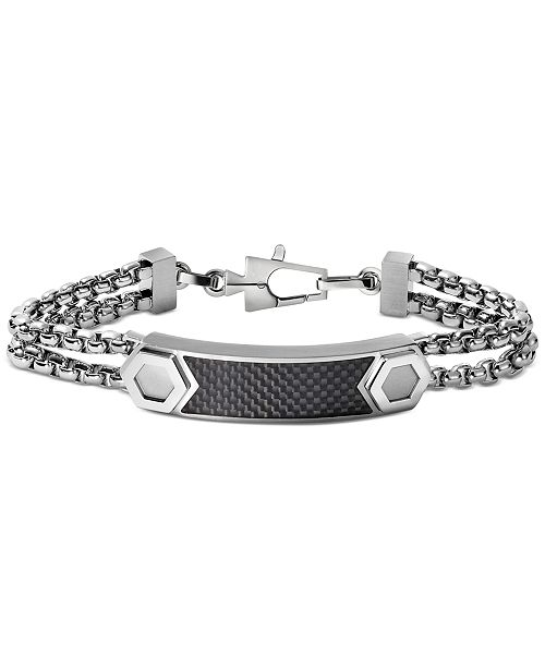 Bulova Men's ID Plate Bracelet in Carbon Fiber & Stainless Steel, J96B004L