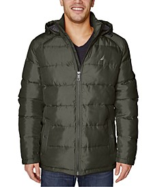 Men's Big & Tall Water-Resistant Puffer Jacket with Removable Hood
