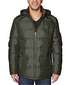 Nautica Men's Big & Tall Water-Resistant Puffer Jacket with Removable Hood