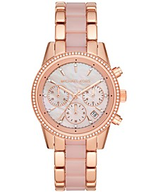 Women's Chronograph Ritz Rose Gold-Tone Stainless Steel & Blush Acetate Bracelet 37mm