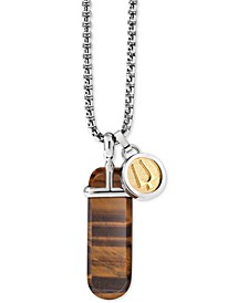 "Men's Tiger's Eye (36 x 12mm) & Logo Disc Pendant Necklace in Silver- & Gold-Tone, 26"" + 2"" extender, J98N005"
