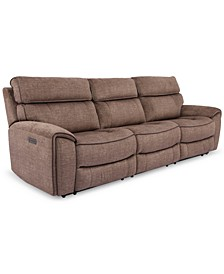 Hutchenson 3-Pc. Fabric Sectional with 2 Power Recliners and Power Headrests