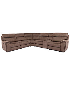 Hutchenson 6-Pc. Fabric Sectional with 2 Power Recliners, Power Headrests and Console with USB