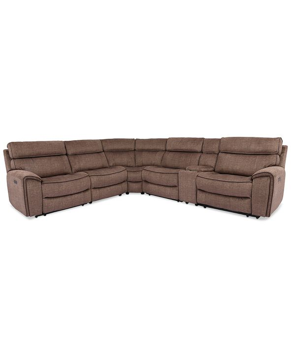 Furniture Hutchenson 6-Pc. Fabric Sectional with 2 Power Recliners, Power Headrests and Console with USB