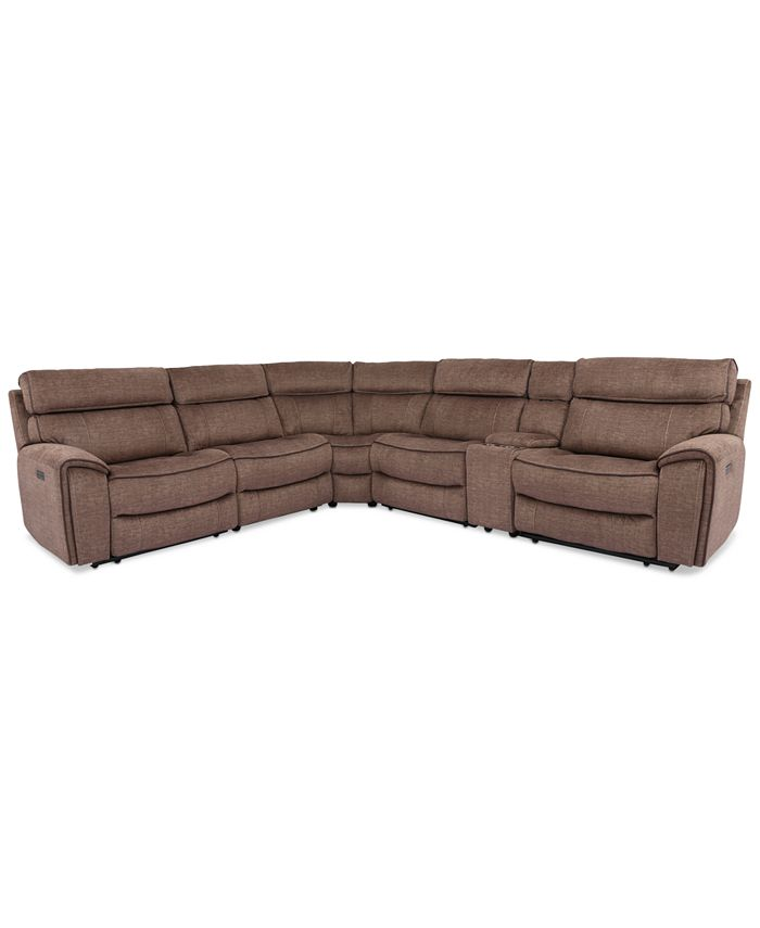 Furniture - Hutchenson 6-Pc. Fabric Sectional with 2 Power Recliners, Power Headrests and Console with USB