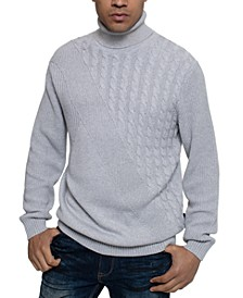 Men's Tri-Pattern Turtleneck Sweater