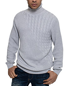 Sean John Men's Tri-Pattern Turtleneck Sweater