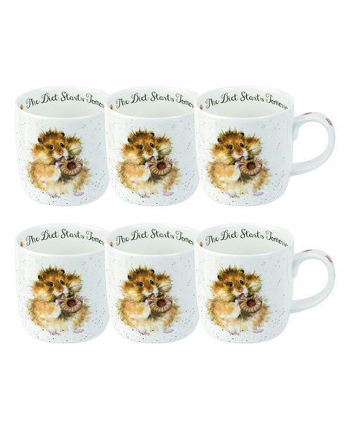 Royal Worcester Wrendale The Diet Starts Tomorrow Mouse Mug Set/6