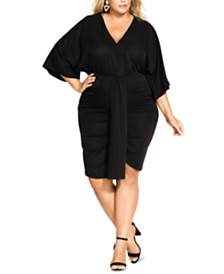 Trendy Plus Size Ruched Batwing-Sleeve Dress
