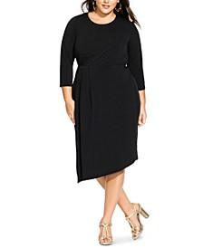 Trendy Plus Size Asymmetrical Faux-Wrap Dress