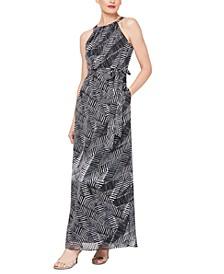 Printed Tie-Waist Maxi Dress