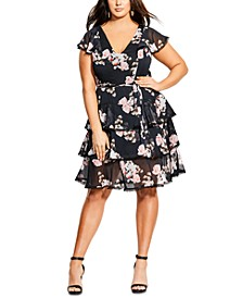 Trendy Plus Size Tiered Floral-Print Dress