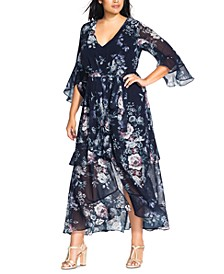 Trendy Plus Size Floral-Print Maxi Dress