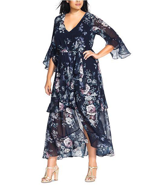City Chic Trendy Plus Size Floral-Print Maxi Dress ...