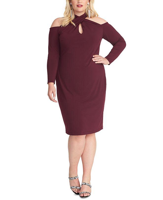 RACHEL Rachel Roy Trendy Plus Size Simone Cold-Shoulder Dress