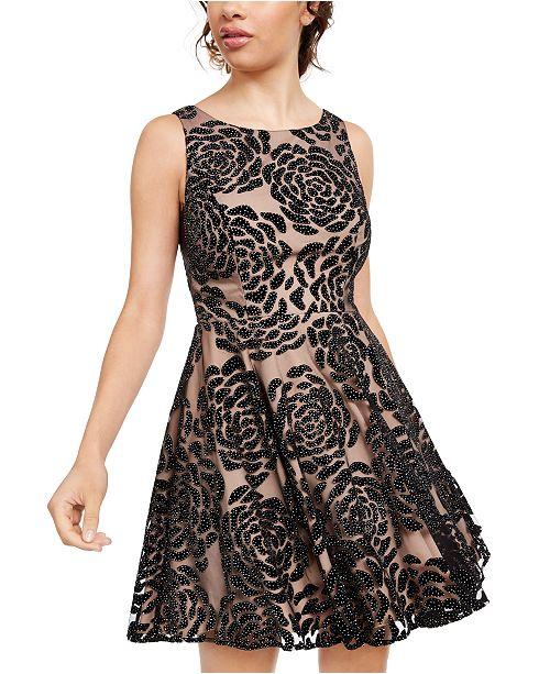 City Studios Juniors' Embellished Floral Burnout Velvet Dress