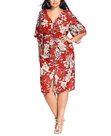 Trendy Plus Size Twisted Bell-Sleeve Dress