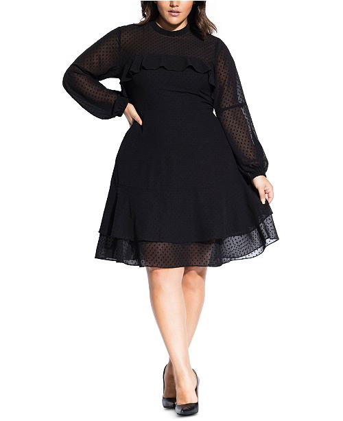 City Chic Trendy Plus Size Ruffled Dobby Dress