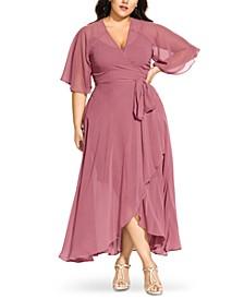 Trendy Plus Size Chiffon Wrap Dress