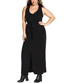Trendy Plus Size Tie-Front Maxi Dress