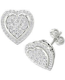 Diamond Heart Cluster Stud Earrings (1/2 ct. t.w.) in Sterling Silver