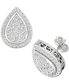 Diamond Teardrop Cluster Stud Earrings (1/2 ct. t.w.) in Sterling Silver
