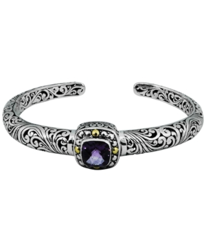 Amethyst (2-5/7 ct. t.w.) Bali Heritage Classic Cuff Bracelet in Sterling Silver and 18k Yellow Gold Accents (Also Available in Garnet)