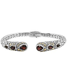 Garnet (2-9/10 ct. t.w.)  Bali Heritage Classic Cuff Bracelet  in Sterling Silver and 18k Yellow Gold Accents