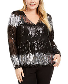INC Plus Size Sequin Striped Surplice Top, Created For Macy's