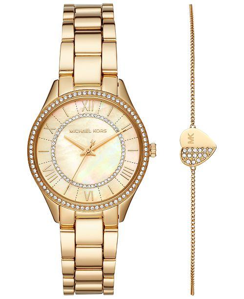 Michael Kors Women's Mini Lauryn Gold-Tone Stainless Steel Bracelet Watch 33mm Gift Set