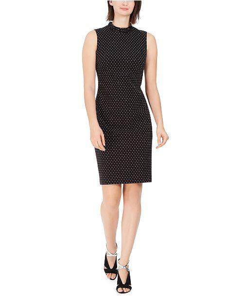 Calvin Klein Ruffled Pin Dot Sheath Dress