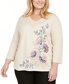 Plus Size Autumn Harvest Embroidered Knit Top
