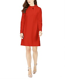Petite Tie-Neck Scuba Crepe Dress