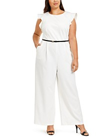Plus Size Belted Ruffled Jumpsuit