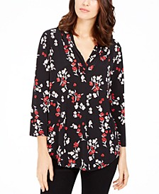 Floral Print Pleated V-Neck Blouse, Created for Macy's