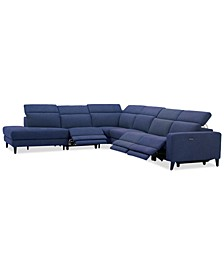 Sleannah 6-Pc. Fabric Bumper Sectional with 3 Power Recliners