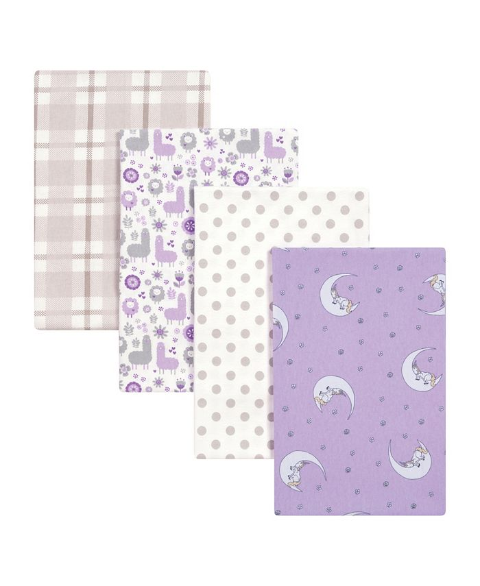 Trend Lab - Llamas and Unicorns 4-Pack Flannel Swaddles