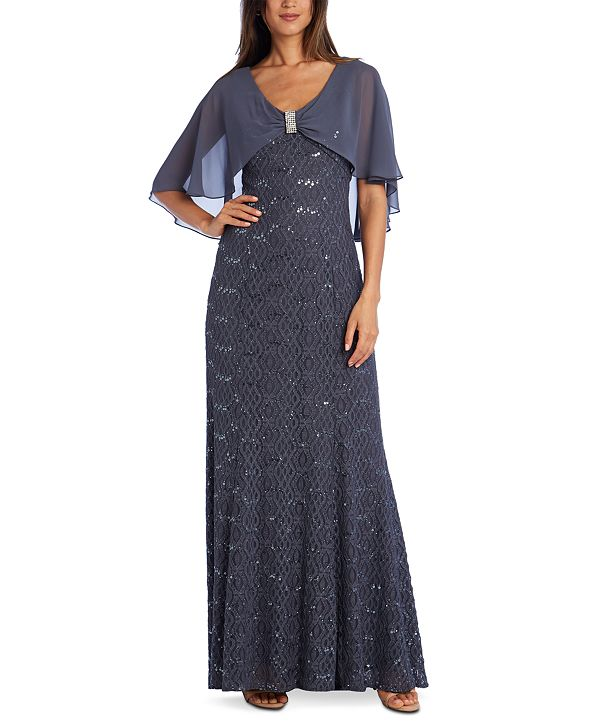 R & M Richards Embellished Lace Capelet Gown