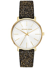 Women's Pyper Black & Gold-Tone Swarovski® Crystal Black Leather Strap Watch 38mm