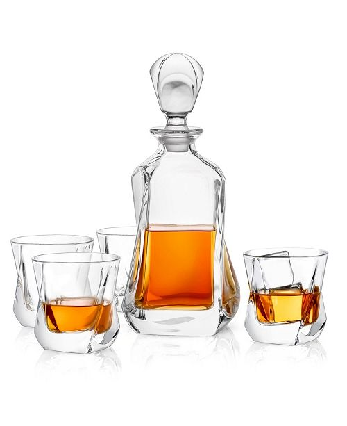 JoyJolt Aurora Whiskey Decanter Set of 5
