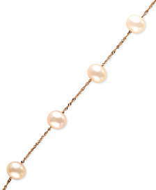 EFFY Cultured Freshwater Pearl Station Bracelet (5-1/2-6mm) in 14k Rose Gold