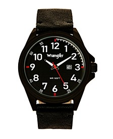 Men's Watch, 48MM IP Black Case, Black Dial, White Arabic Numerals, Black Strap, Analog, Red Second Hand, Date Function