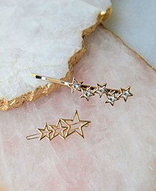 Stars Align Gold Tone 2 Piece Hair Clip Set
