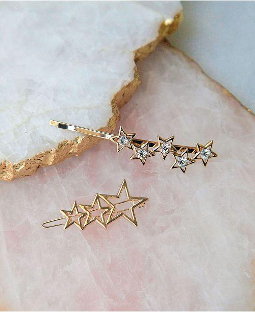 Soho Style Stars Align Gold Tone 2 Piece Hair Clip Set