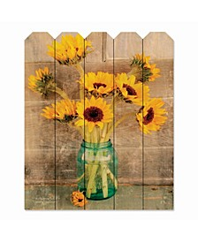 "Country Sunflowers 9"" x 12"" Wood Picket Wall Art"