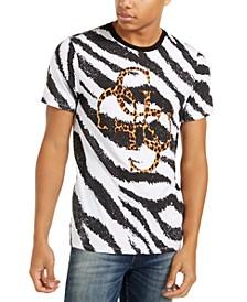 Men's Zebra Stripe Quatro Logo T-Shirt