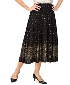 Petite Glitter-Border A-Line Skirt, Created For Macy's